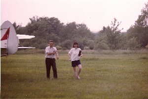 Mary Hruby with her father Bill Luther in their airfield (Source: Mary Hruby).