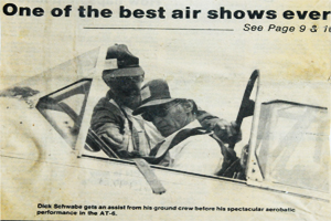 Newspaper clipping of Schwabe in the AT-6