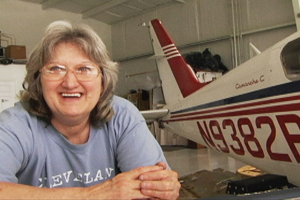 Nancy German in her hangar shop.