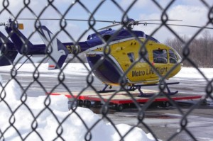 MetroHealth Life Flight helicopter resting on the tarmac