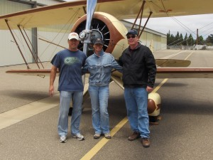 Mark Scheibe (on left) returns to Mohican Airpark in a 1929 ATO Taperwing Waco after a four day flight from  Santa Barbara CA.