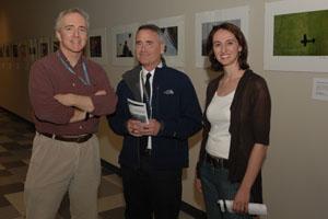 Joe Murray joins KSU Chief Flight Instructor Tim Palcho and Contributing Editor Jaqueline Marino at the photo exhibit.