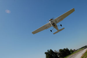 Shannon departs on runway 21 at Skypark for the afternoon flight lesson.