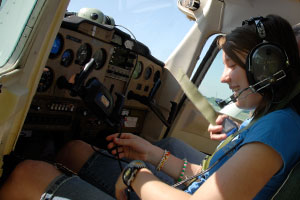 Preparing for lesson with flight instructor Norma Gay.